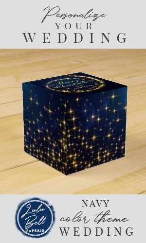 Gold Navy Sparkle Lights Holiday Christmas Favor Box