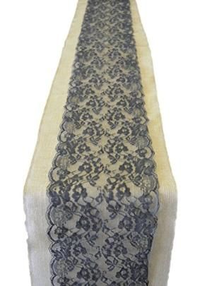 Buy Burlap & Lace Table Runner - 9' Lace (Black Lace by Kitchen9