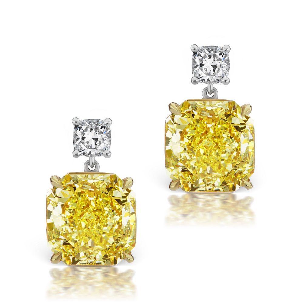 Cushion Cut Radiant Yellow Diamond Drop Earrings  Scarselli Diamonds