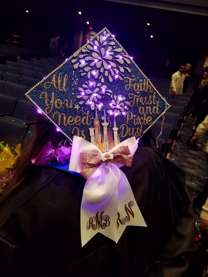 Grad Cap Design With Lit Up Fireworks Peter Pan Quote