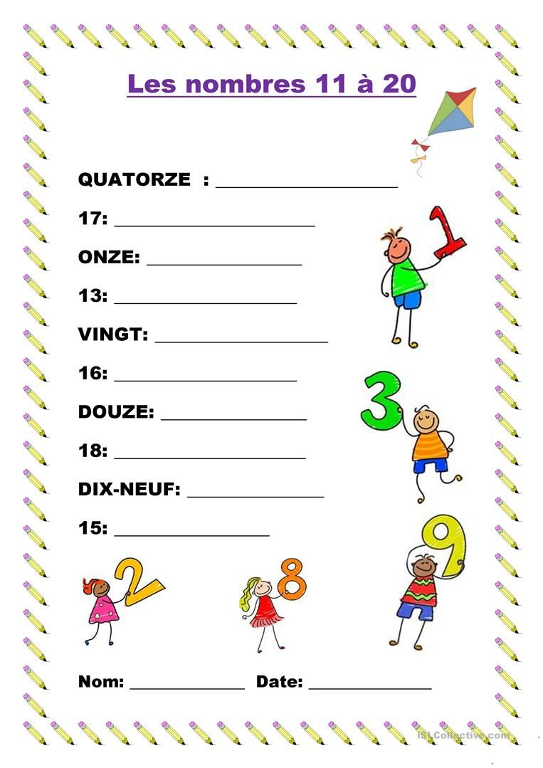 Les Nombres 11 A 20 French Activities Teaching French French Worksheets
