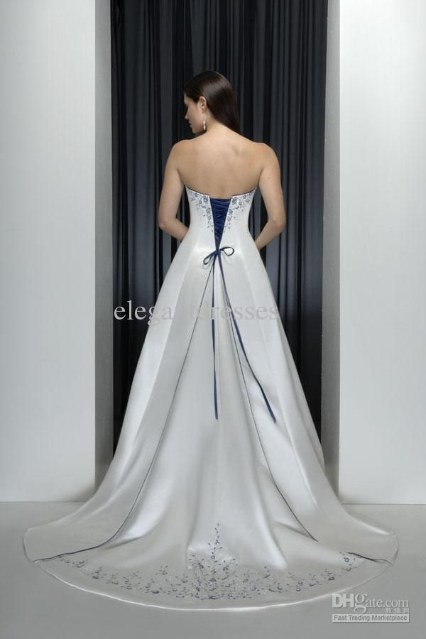 Wholesale Classic Style Strapless With Blue Embroidery Beads Hem Wedding Dress Gowns W94 Free