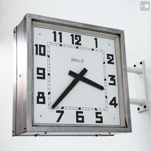 Wall or ceiling mounted double sided industrial clock by Brilli