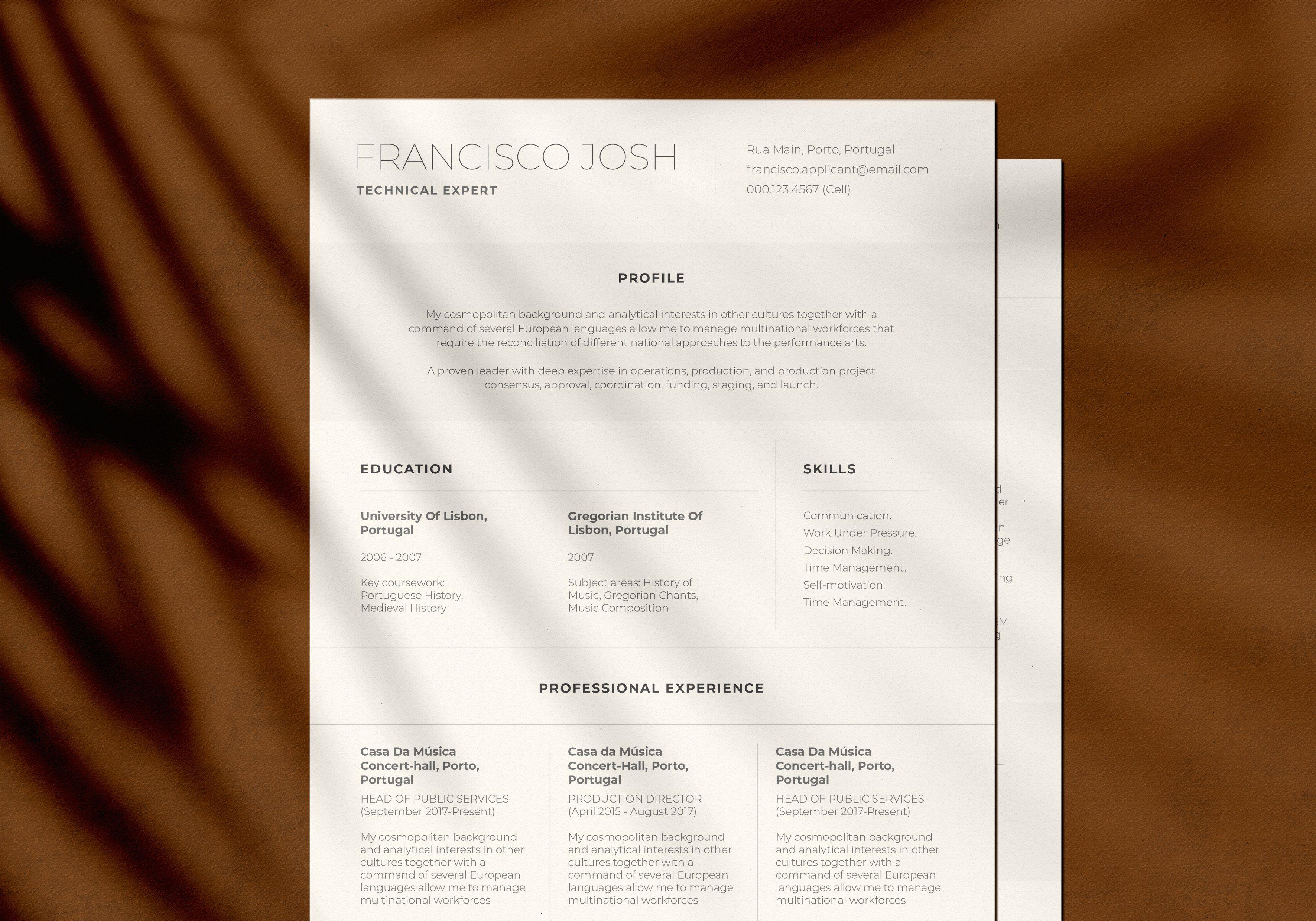 Minimalist Résume by Harmonais Visual on @creativemarket # ...