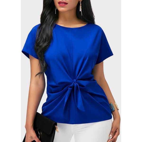 7d573267d8979 Rotita Round Neck Short Sleeve Royal Blue Blouse ( 27) ❤ liked on Polyvore  featuring tops