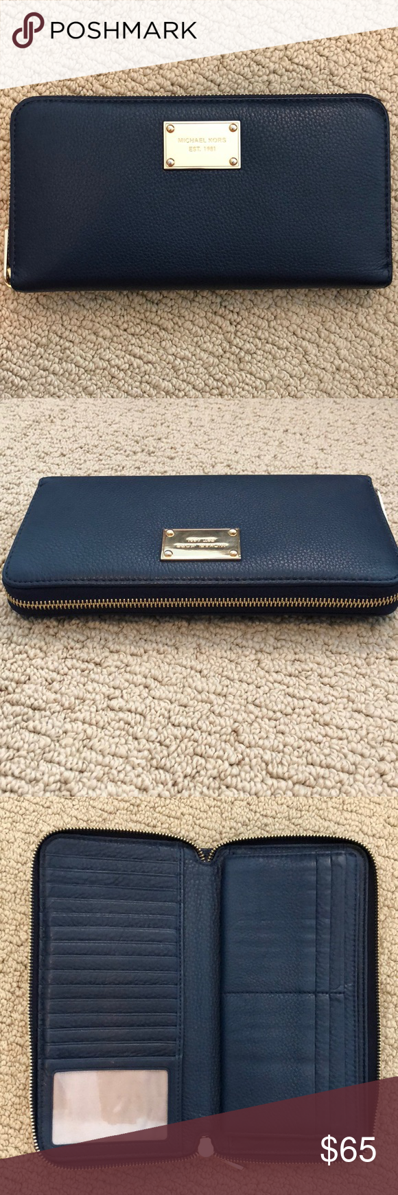 """ac13645f38de Michael Kors Navy Blue Clutch/Wallet Very gently used. 4.5"""" x 9"""" navy blue clutch  wallet. Gold MK plate with gold zipper. Fits phone and passport."""