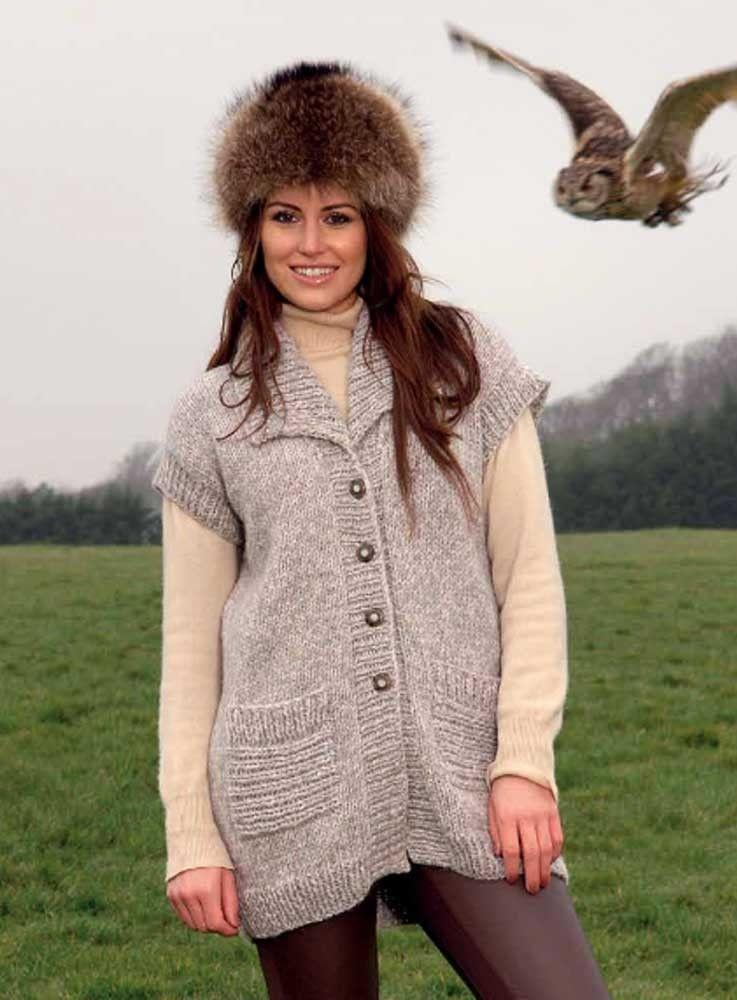 1983b773a54 Robin chunky longline sleeveless cardigan. Free pattern  http   blog. loveknitting