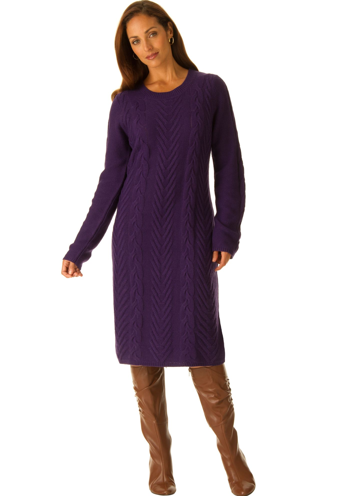 ca9bdb6b39f Cable knit plus size sweater dress in refined soft cable for a flawless  fit. in a shaped fit that gives you classic