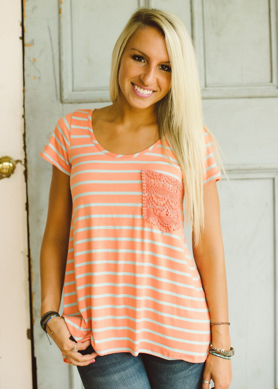 Piace Boutique - Anything Goes Crochet Pocket Tee (Tangerine), $26.99 (http://www.piaceboutique.com/anything-goes-crochet-pocket-tee-tangerine/)