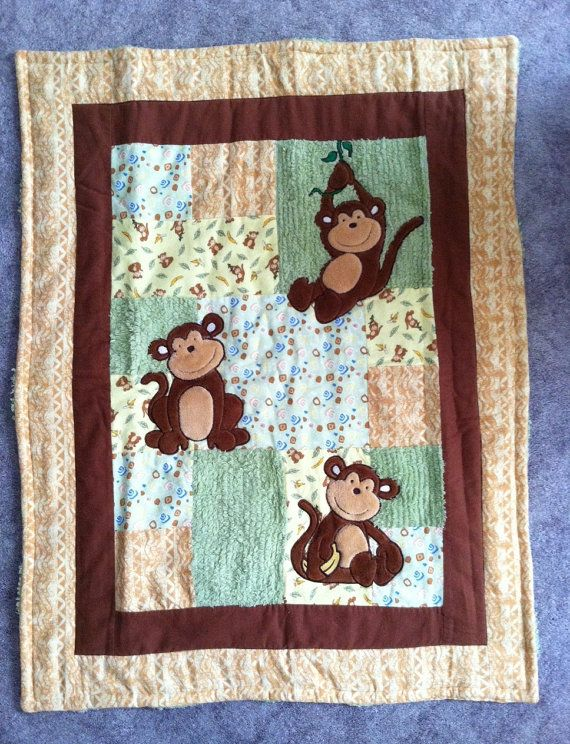 Flannel Monkey Baby Blanket Quilt Squares by DesignsByDiBlankets ... : monkey baby quilt pattern - Adamdwight.com
