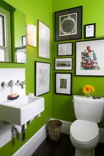 Which Green Paint Did You Use Houzz Lime Green Bathrooms