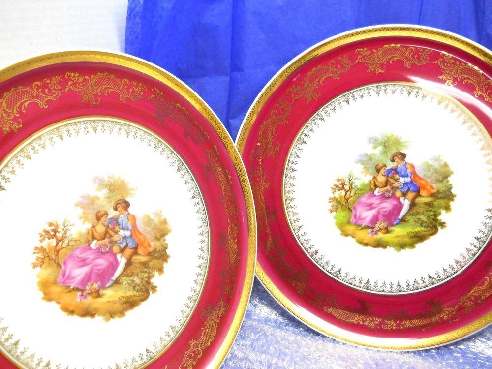 Pair of Vintage Limoges Decorative Plate Romantic Couple by Fragonard Gold #fragonard #romantic # & Pair of Vintage Limoges Decorative Plate Romantic Couple by ...