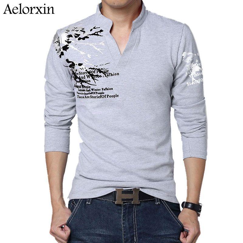 c11899124 Men's T-shirts Brand Trend Print Slim Long Sleeve T Shirt Men Tshirt Tee V-Neck  Casual Men Fitness Cotton Plus Size M-5XL #Affiliate