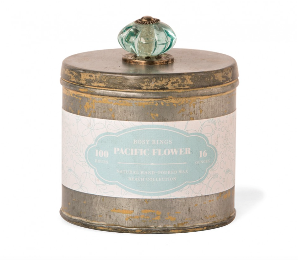 Pacific Flower Beach Tin.  Made with: 100% natural wax, 2 cotton wicks, essential and high quality fragrance oils.   #candle #beach #tin #scentedcandle #pacific #flower #luxury