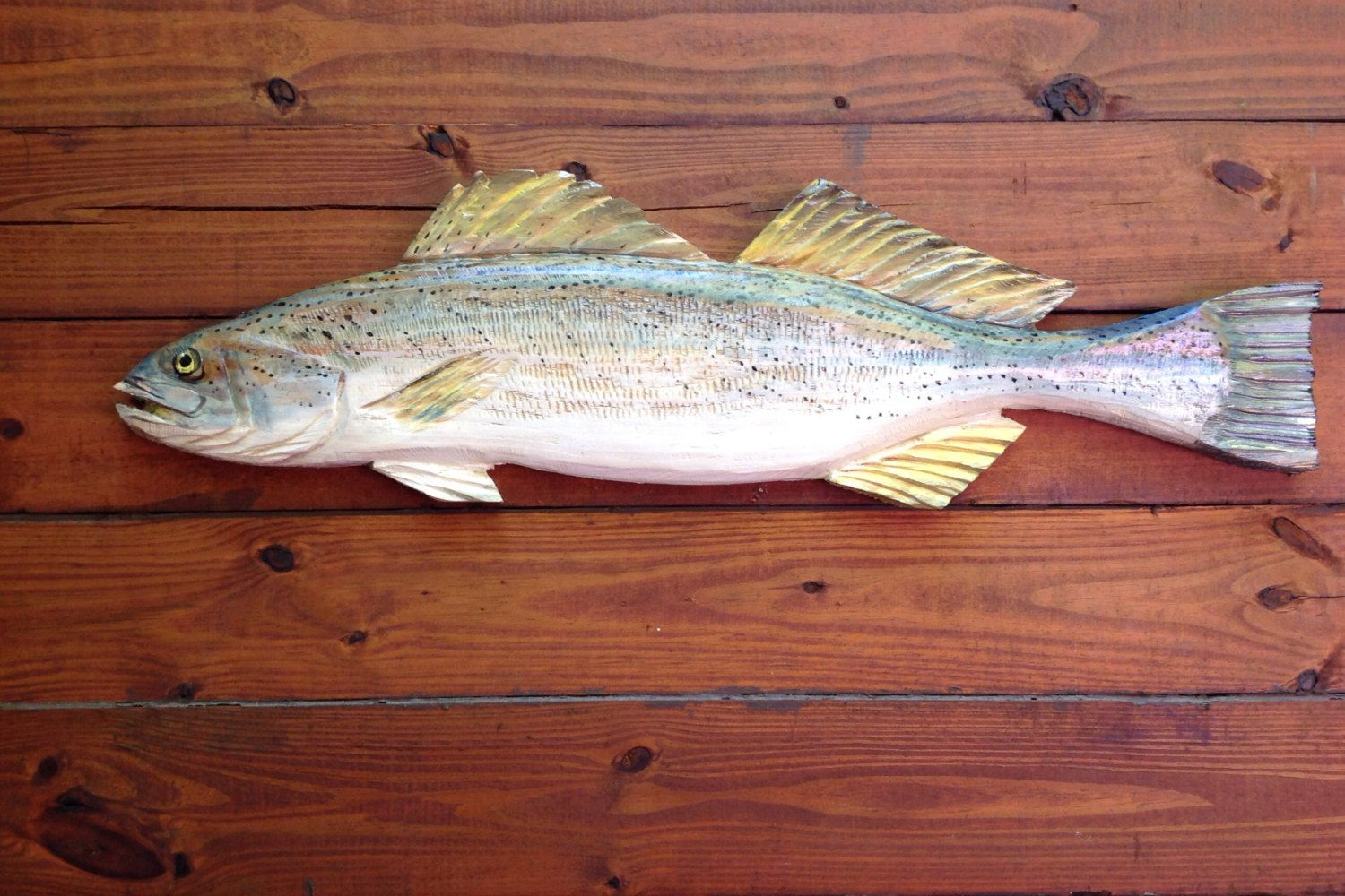 """weakfish 34"""" chainsaw wooden fish taxidermy carving beach cottage"""