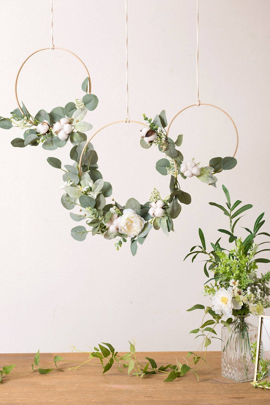 Eucalyptus Wreath for Greenery Wedding Decor (Set of 3)