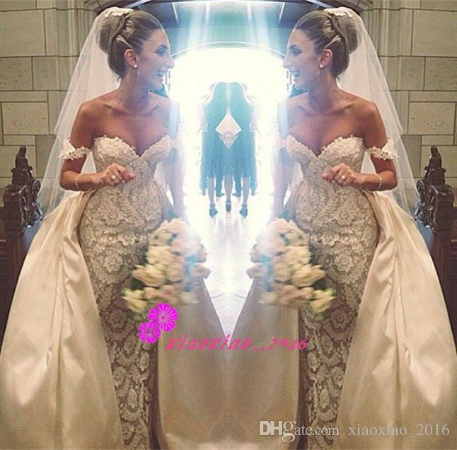 Elegant off shoulder 2016 lace mermaid wedding dresses for Mermaid wedding dress with detachable train