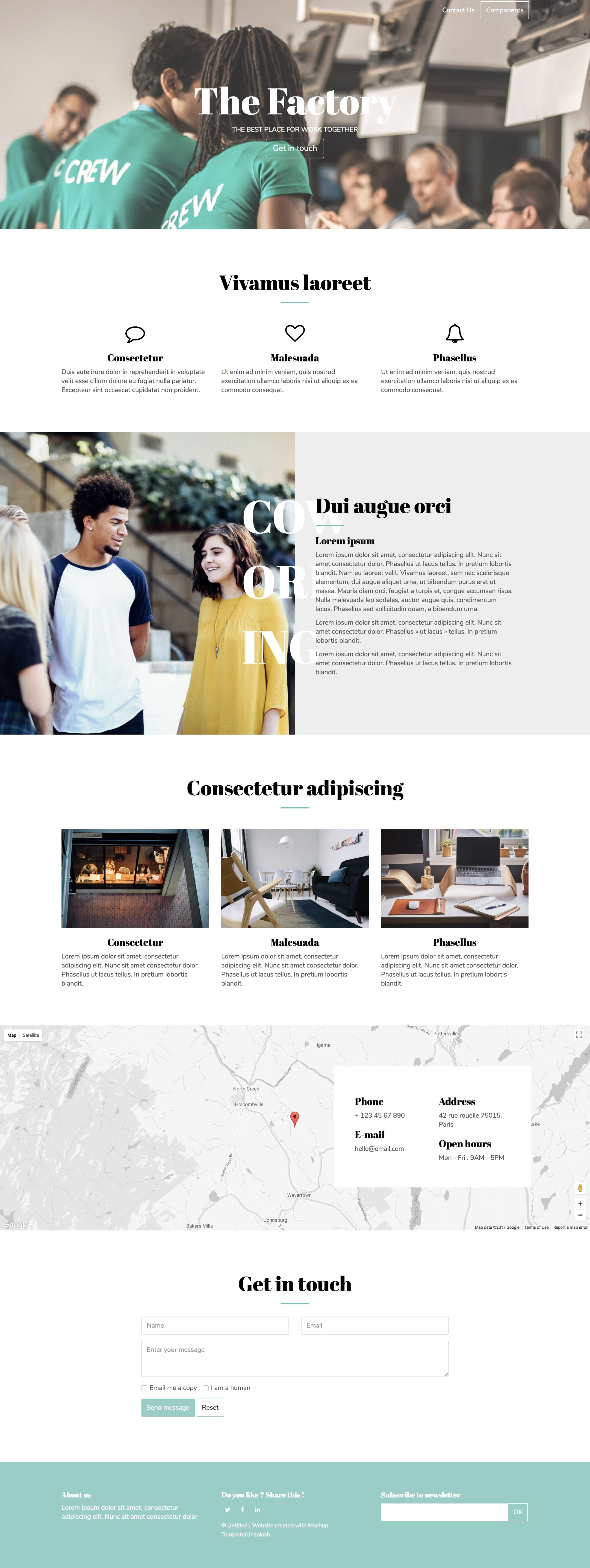 'Factory' is a FREE One Page HTML template suited for co