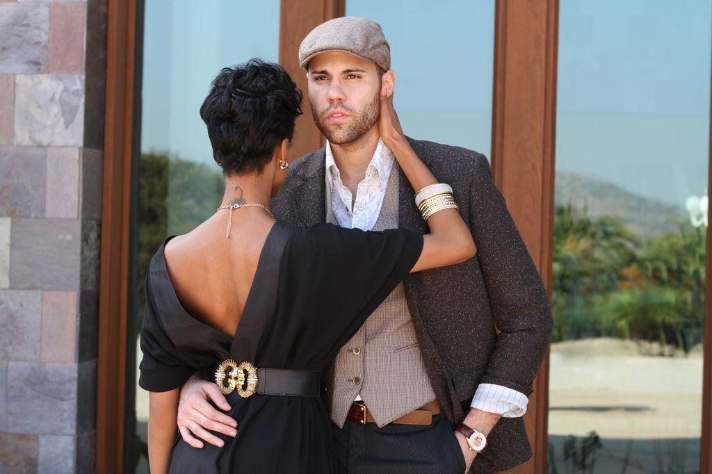 Mens Fashion. Driver hat, vest, belt, blazer, cuffed sleeves. Well done