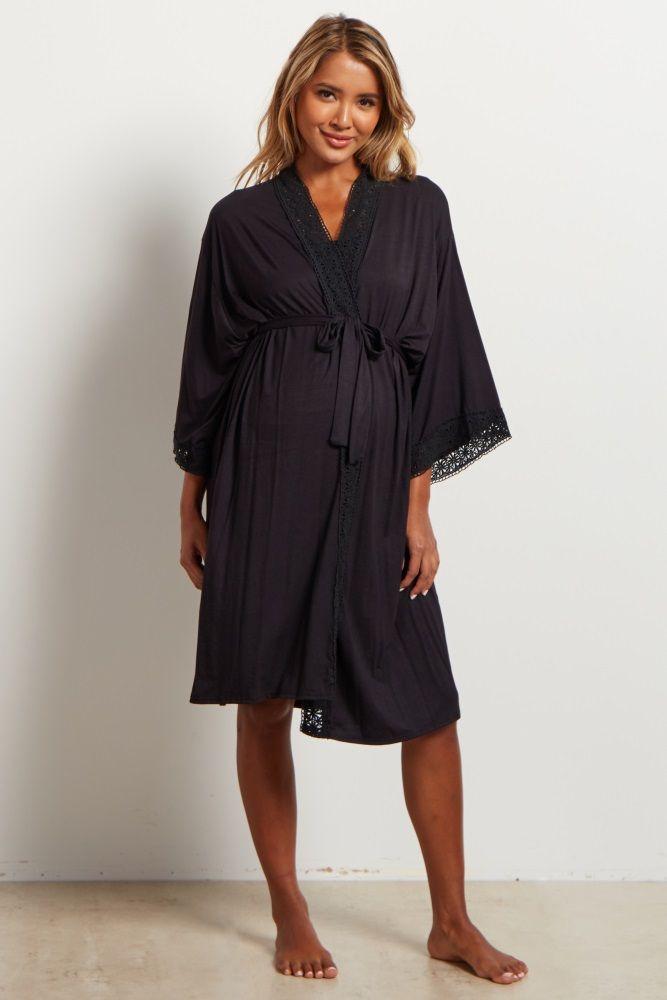 baa81f0a60f07 Black Crochet Trim Dressing Robe Nursing Robe, Maternity Skinny Jeans, Pink  Blush Maternity,