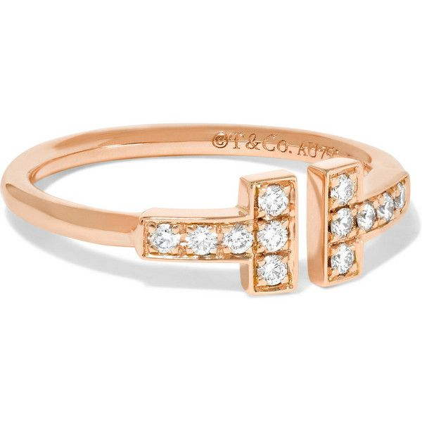 Tiffany & Co T Wire 18-karat rose gold diamond ring ($1,600) ❤ liked on Polyvore featuring jewelry, rings, rose gold, 18k ring, tiffany co rings, red gold ring, 18 karat gold ring and blue jewelry
