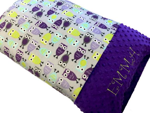 Personalized Pillowcase Lavender and Purple Owl Minky by babyboos