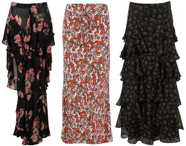 Topshop Premium Floral Frill Skirt Dorothy PerkinsMuti Floral Max Skirt Topshop Star Tier Maxi Shirt