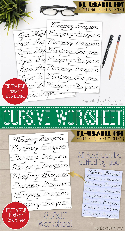 Cursive Name Writing Worksheet Editable Script