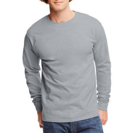 c84f149ef79b Hanes Mens Tagless Cotton Crew Neck Long-Sleeve Tshirt, Men's, Size: Small,  Silver