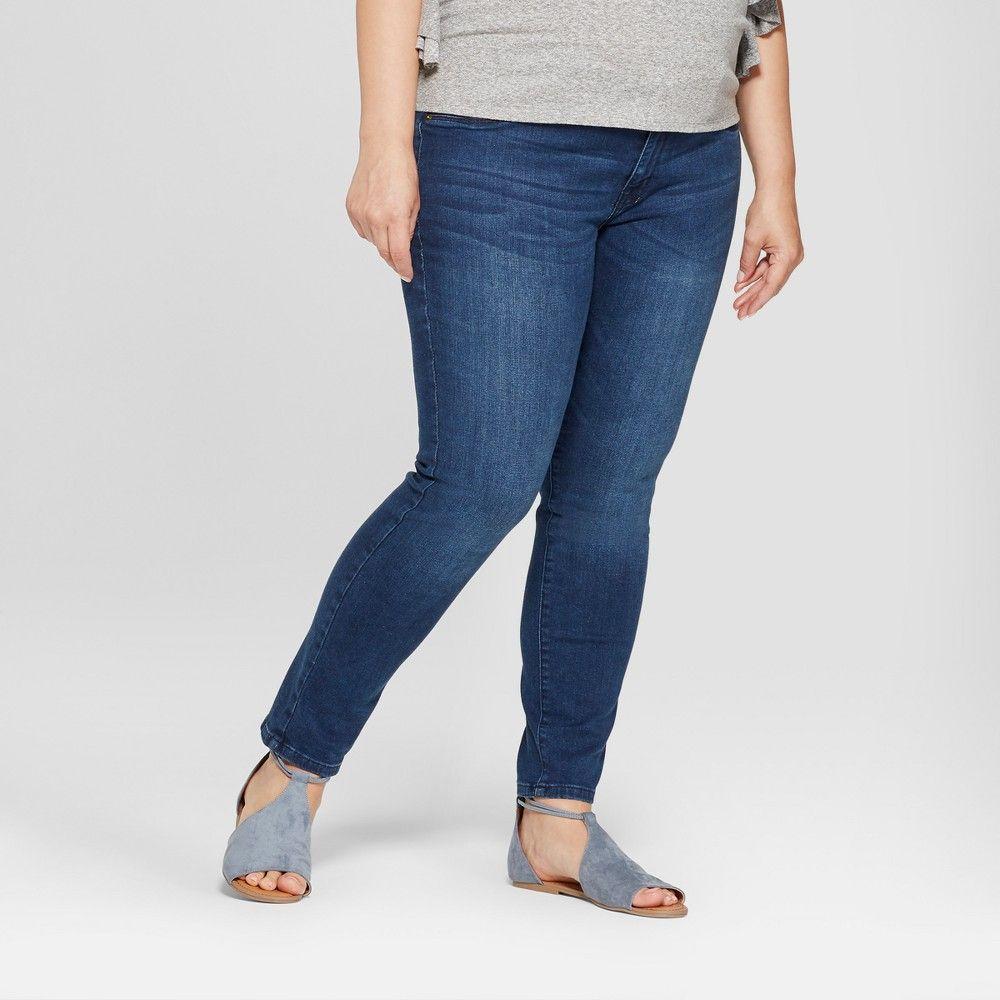 bf5084bbf48dd Maternity Plus Size Inset Panel Skinny Jeans - Isabel Maternity by Ingrid & Isabel  Dark Wash 20W, Women's, Blue