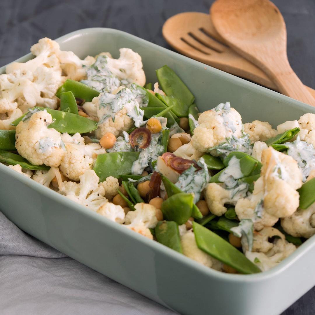 Low Carb: Blumenkohl-Salat mit Kichererbsen #lowcarbyum