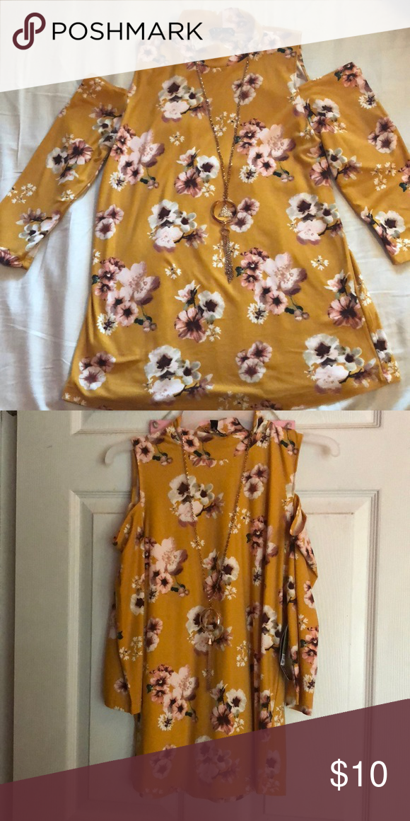 587f007919bbe4 Cold shoulder top with necklace Cute cold shoulder top! Comes with necklace!  Very soft!! Got from Ross