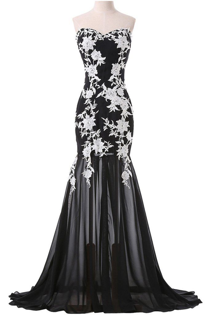 a13fc0dfa199 Sweetheart dress, ball gown, beautiful black tulle A-+ white appliques  mermaid prom dress