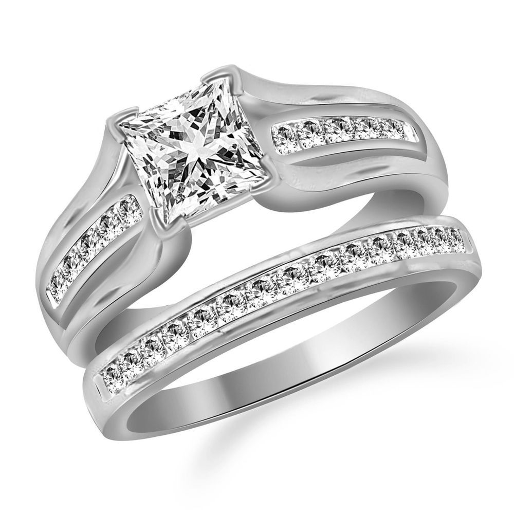 Women's .925 Sterling Silver Princess Cut Wedding Ring Set Size 5,6,7,8,9,10 #Affinityhomeshopping #Bridal