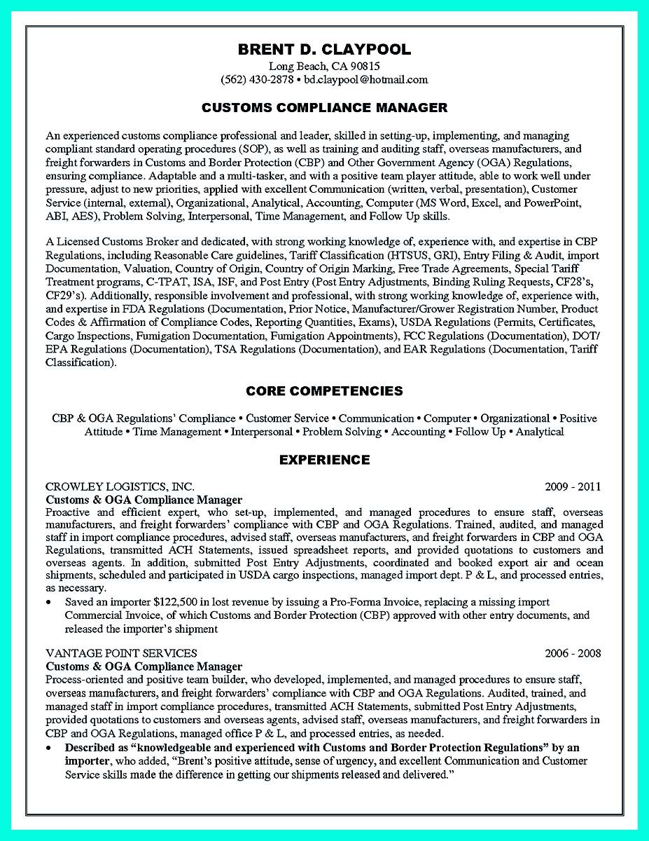Compliance Officer Sample Resume Project Management