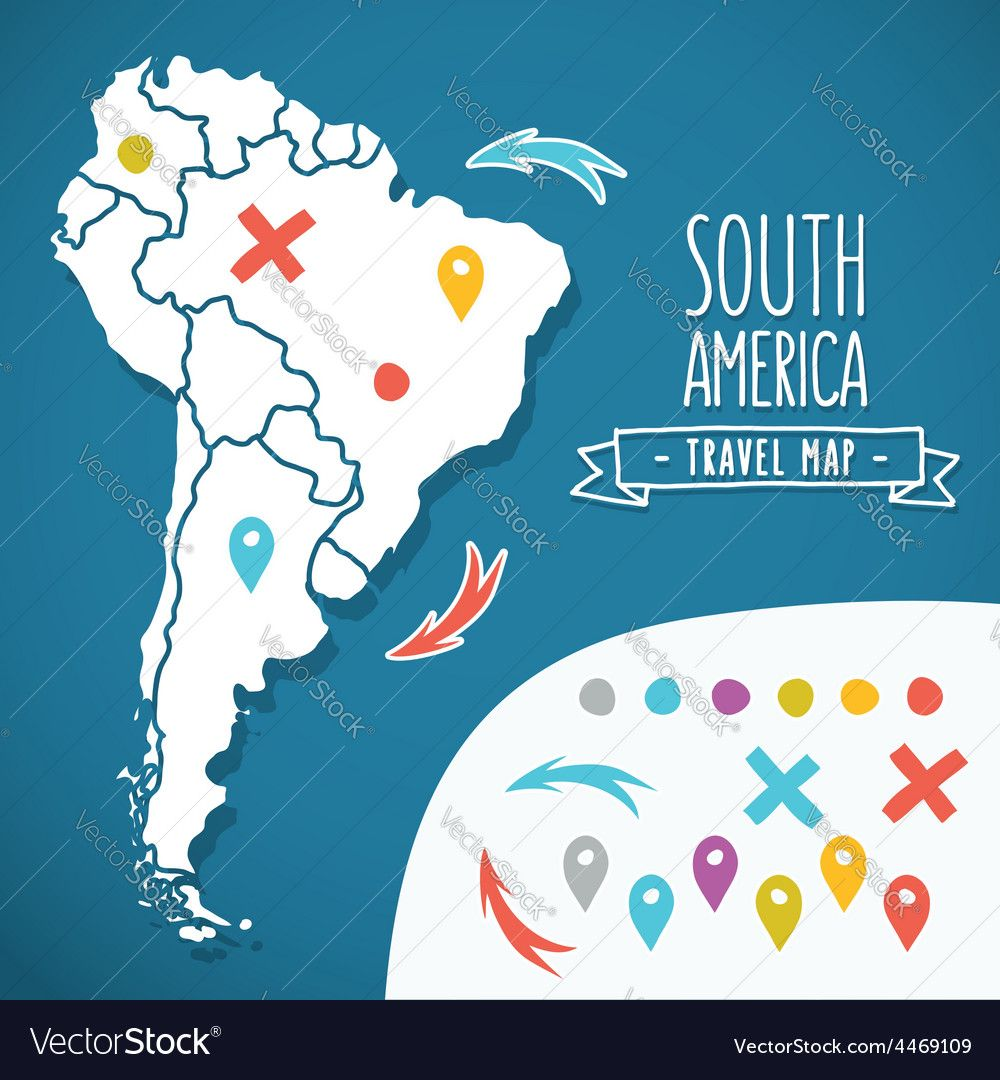 Hand drawn south america travel map with pins vector illustration hand drawn south america travel map with pins vector illustration download a free preview or gumiabroncs Choice Image