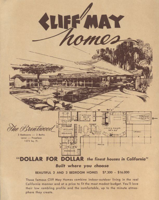 Cliff May - The Brentwood | homie | Pinterest | Mid century, Mid ...