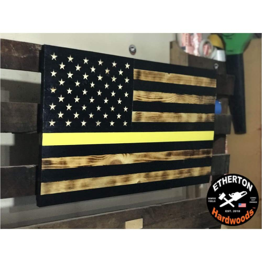 3xl Rustic Carved Vivid Series American Flag Thin Yellow Line Dispatcher Blacked 60 X 36 American Flag Sizes American Flag Yellow Line