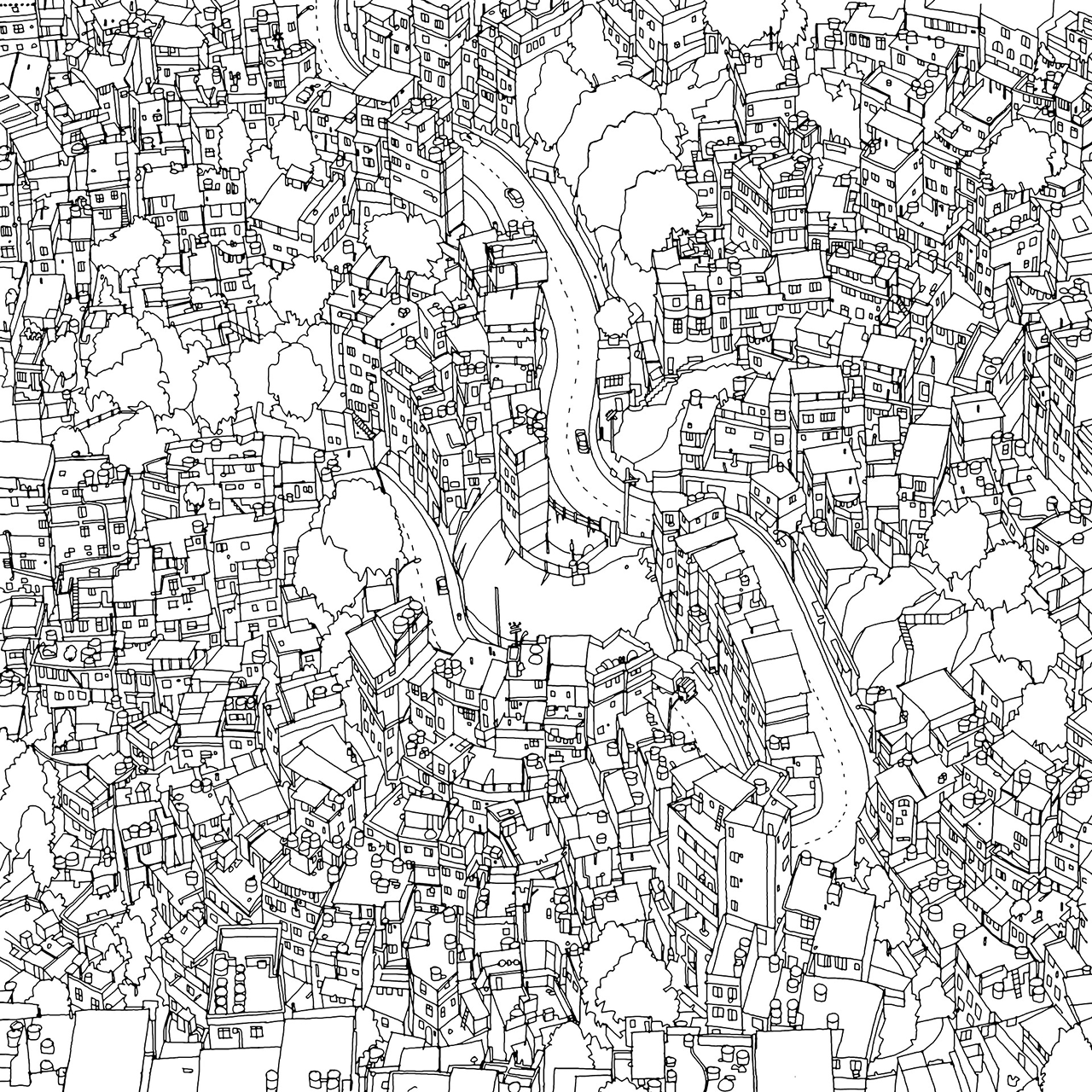 Rocinha Favela Rio De Janeiro Fantastic Cities The Most Intricate All Ages Colouring Book Yet