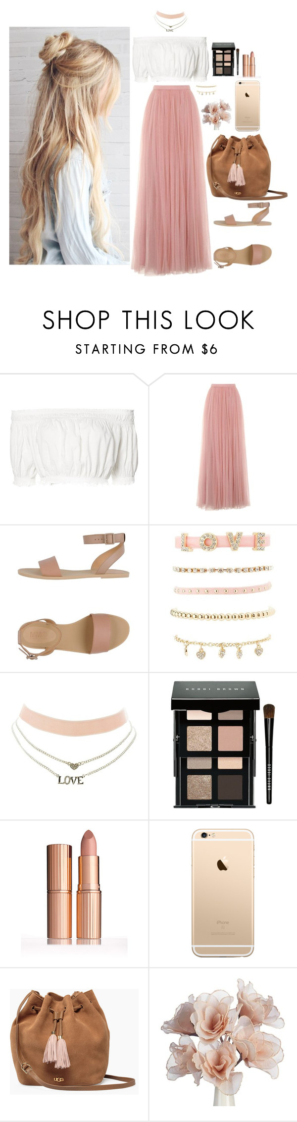 """""""yeah #147"""" by vieirakarol ❤ liked on Polyvore featuring Apiece Apart, Little Mistress, MM6 Maison Margiela, Charlotte Russe, Bobbi Brown Cosmetics and UGG"""