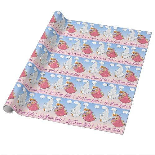 Twin Girls Stork Baby Shower Wrapping Paper Stork Baby Showers