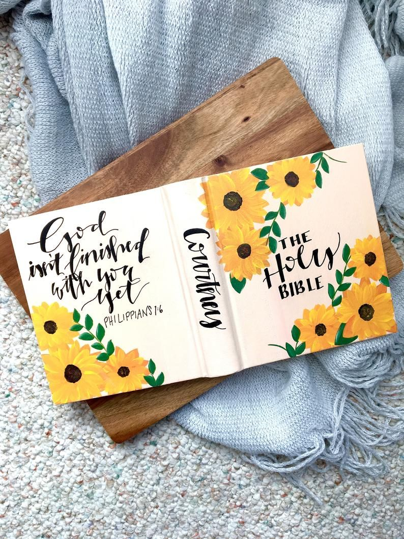 Sunflower Bible Hand Painted Bible Personalized Bible
