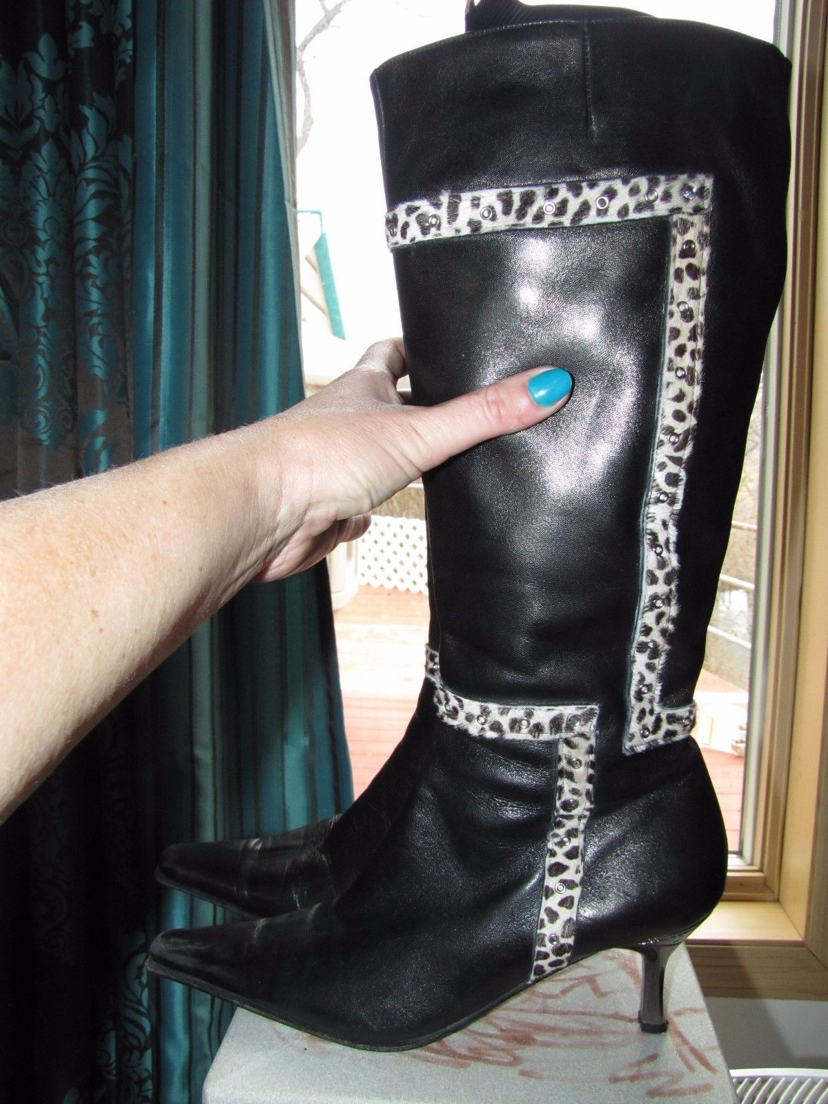 Podium woman leather knee length boots size 41 US 10
