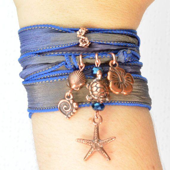 Ocean Wrap Bracelet, Beach Wrap Bracelet, Ocean Silk Wrap Bracelet, Beach Silk Wrap Bracelet, Yoga Bracelet, Copper Beachy Boho Bracelet by Beadtography