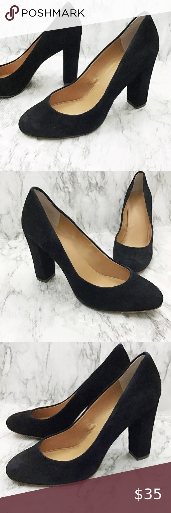 J Crew Factory Suede Pumps Black Size 9 5 In 2020 Black Suede Pumps Suede Pumps Shoes Women Heels