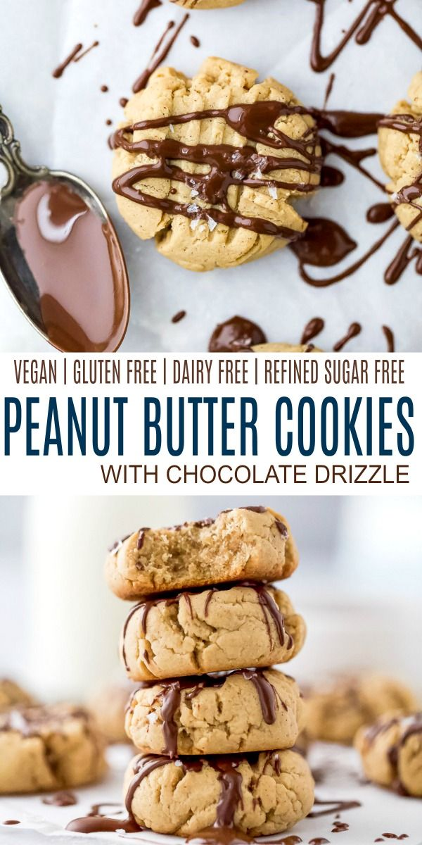 Vegan Peanut Butter Cookies with Chocolate | Gluten Free Cookies #peanutbuttersquares
