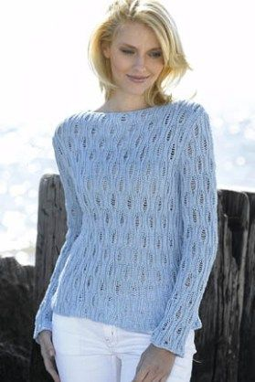 38d64ee383 Openwork Boatneck Lace Pullover Sweater Free Knitting Pattern
