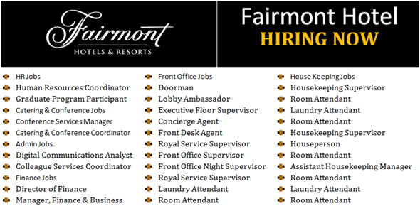 Latest Jobs In Fairmont Hotel Resorts Hotel Jobs Self