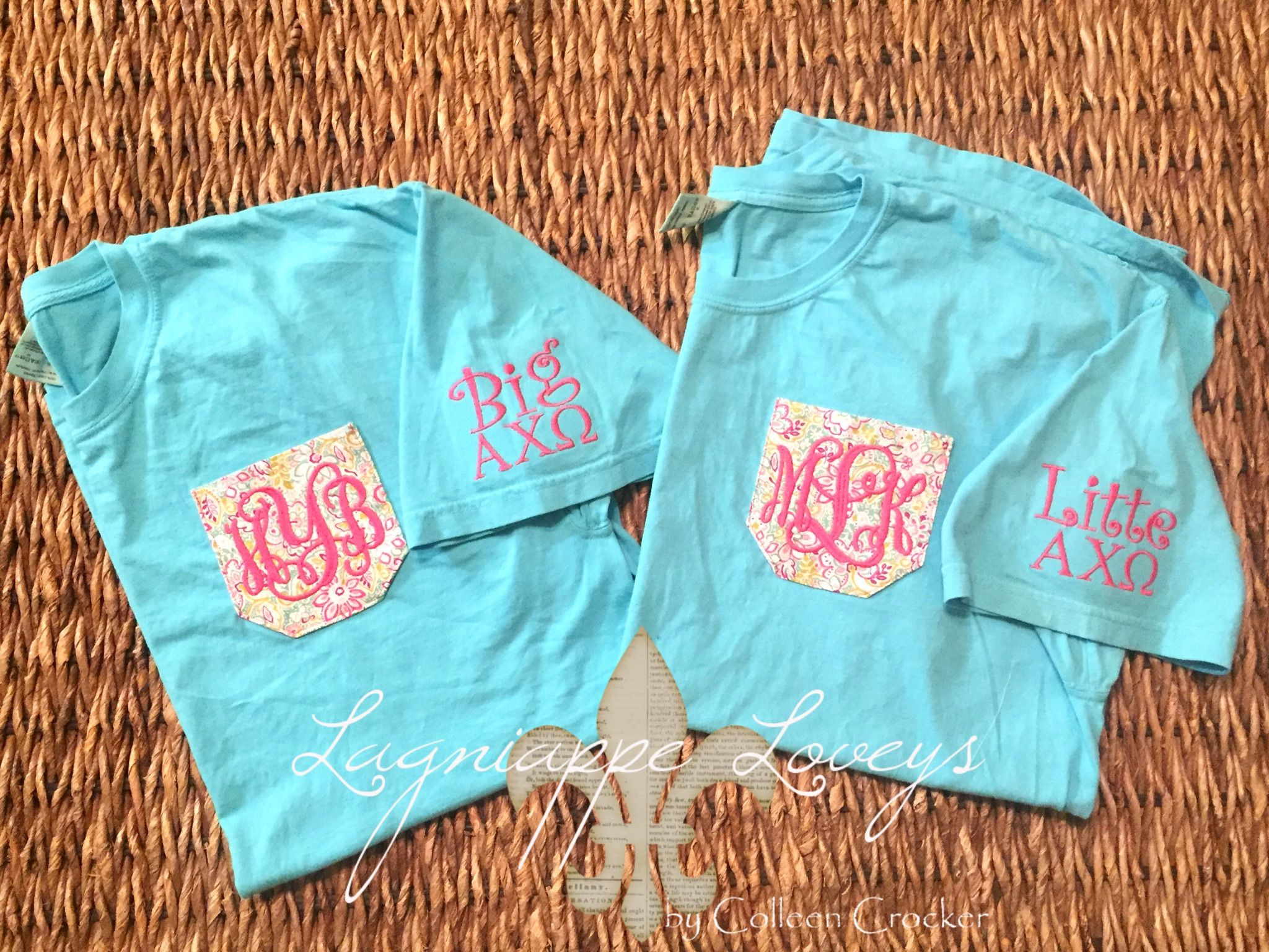 Sorority big and little monogrammed real, Aqua, pink comfort colors tshirts by Lagniappe Loveys on Facebook http://www.facebook.com/lagniappeloveys