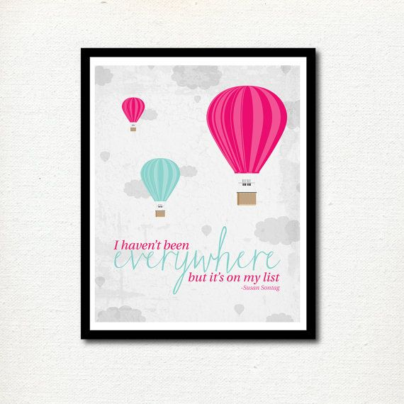 Nursery Print Travel Quote Hot Air Balloons By Mkkmdesigns Hot
